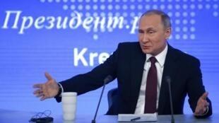 Tổng thống Nga Putin họp báo cuối năm. Ảnh tại Matxcơva, ngày 23/12/2016.