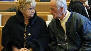 Pierre Le Guennec and his wife Danielle at the courthouse in Grasse on February 10, 2015