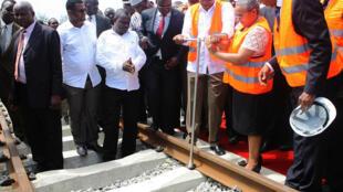 Official launch of Kenya's Standard gauge railway linking Mombasa-Kampala-Kigali-Juba, with Kenyan President Uhuru Kenyatta at Changamwe on 28 November 2013