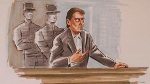 Croquis d'audience de Francis Temperville s'exprimant, le 23 octobre 1997 à Paris, lors de son procès.