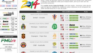 Apostas em jogos da Copa do Mundo em site de operador francês; um estudo indicou que 40% dos franceses acreditam que o Brasil vai ganhar a Copa do Mundo.