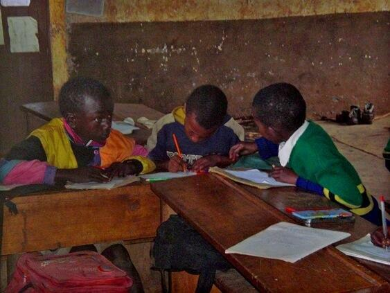 Student in the class without proper instruments ina one of the East Africa country
