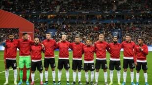 Les joueurs de l'équipe nationale de football de l'Albanie.