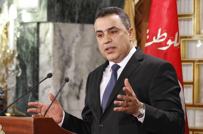 Le Premier ministre Mehdi Jomaâ lors d'une conférence de presse, à Tunis, le 26 janvier 2014.