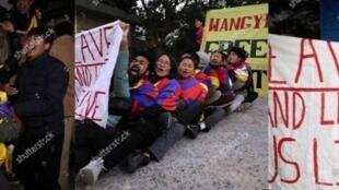 自由西藏學生運動成員抗議中共外長王毅訪問印度21-24/12/2018