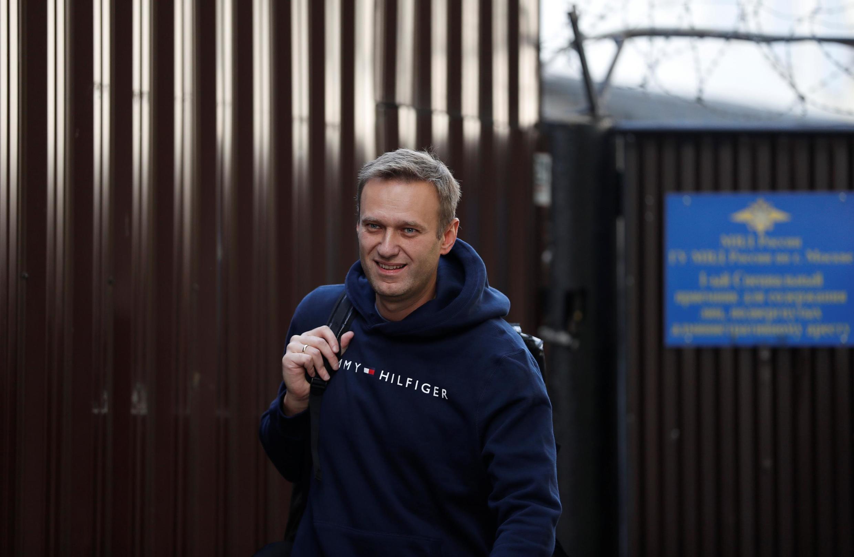 L'opposant russe Alexeï Navalvy à sa sortie de prison le 23 août 2019.