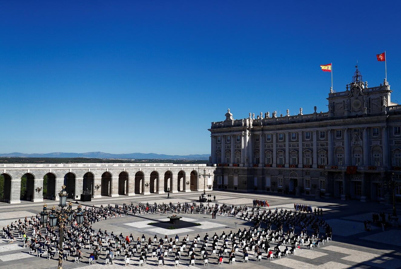 Ceremonia de homenaje a las víctimas de la Covid-19 en el Palacio Real de Madrid en julio de 2020.