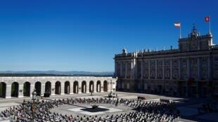 La cérémonie d'hommage aux victimes du Covid-19, au Palais royal de Madrid, le 16 juillet 2020.