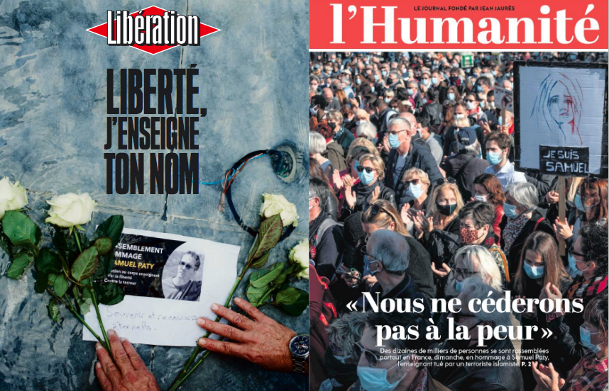 Capas do Libération e l'Humanité.