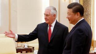Chủ tịch Trung Quốc Tập Cận Bình tiếp ngoại trưởng Mỹ Tillerson, ngày 19/03/2017, tại Bắc Kinh.