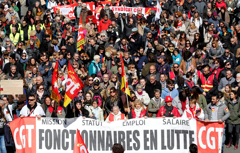 Pháp : Nhân viên Nhà nước biểu tình. Ảnh chụp tại thành phố Marseille, ngày 22/03/2018.