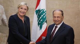 دیدار مارین لوپن، نامزد انتخابات فرانسه با رئیس جمهوری لبنان