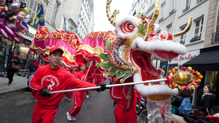 Chinese new year parade in the Marais district, in Paris
