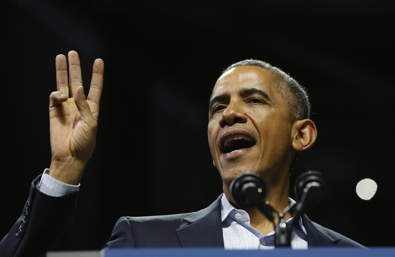 Tổng thống Obama trong đợt vận động tranh cử thống đốc bang Pennsylvania, ngày 02/11/2014.