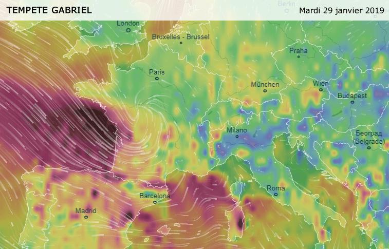 La tormenta Gabriel llegó a Francia.