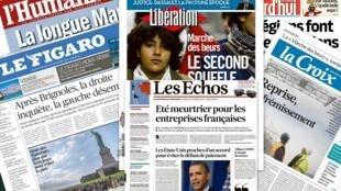 Capa dos jornais franceses: Les Echos, Le Figaro, Libération, La Croix, L'Humanité e Aujourd'hui en France desta terça-feira, 15/10/13