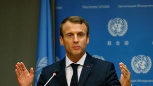 Le président français Emmanuel Macron lors d'une conférence de presse en marge de la 72e Assemblée générale des Nations unies à New York, le 19 septembre 2017.