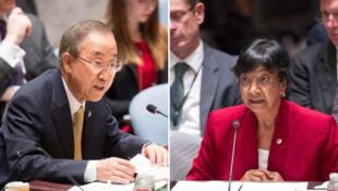 Cao ủy Nhân quyền LHQ Navi Pillay (phải), Tổng thư ký Ban Ki-moon (trái)