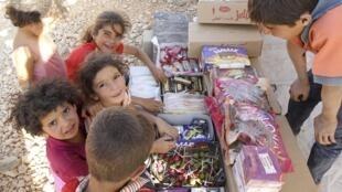 Niños sirios en un campo de refugiados.