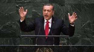 Le président turc Recep Tayyip Erdogan lors de son intervention à l'Assemblée générale des Nations unies, le 24 septembre 2014.