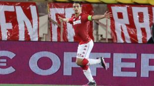 L'attaquant de Monaco, Wissam Ben Yedder, buteur lors du match de Ligue 1 à domicile contre Rennes, le 16 mai 2021