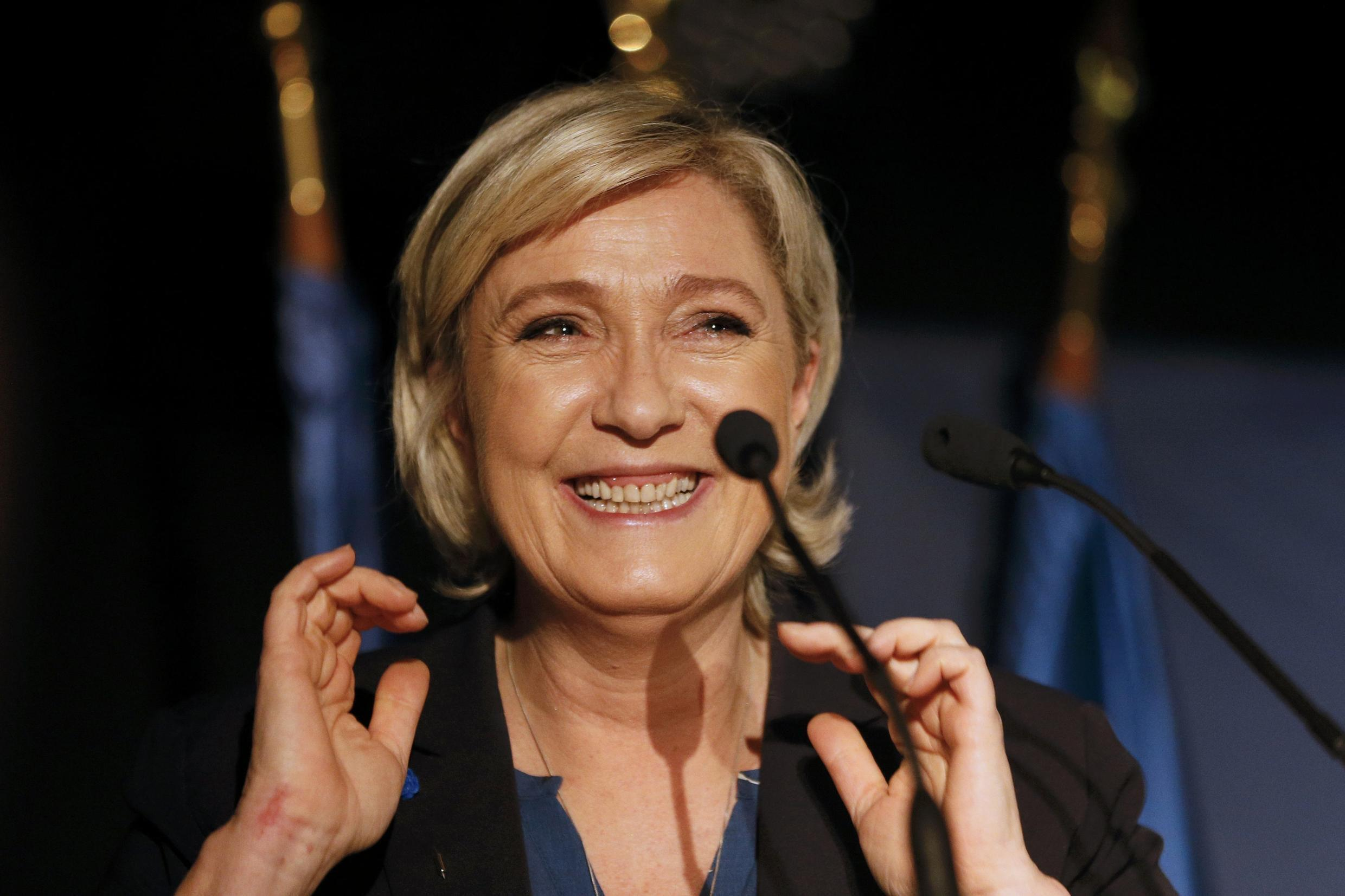 Marine Le Pen at an election rally on Friday