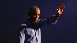 Rais wa zamani wa Marekani Barack Obama katika kampeni kwa niaba ya  wa mgombea wa  chama cha Democratic Joe Biden, Oktoba 21, 2020 huko Philadelphia.