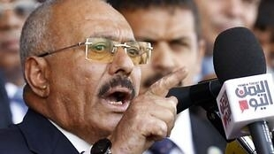 Tsohon shugaban kasar Yemen, Ali Abdullah Saleh yayin gabatar da jawabi ga wasu magoya bayansa a birnin Sanaa. 24 ga Agusta, 2017.