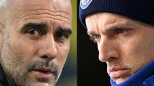 Montaje fotográfico con los dos entrenadores del Manchester City y del  Chelsea, el español Josep Guardiola y el alemán Thomas Tuchel