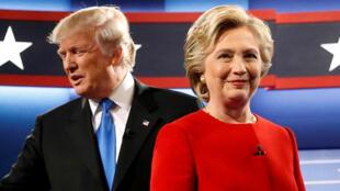 Donald Trump na Hillary Clinton wakati wa mjadala wao wa kwanza Septemba 26, 2016.