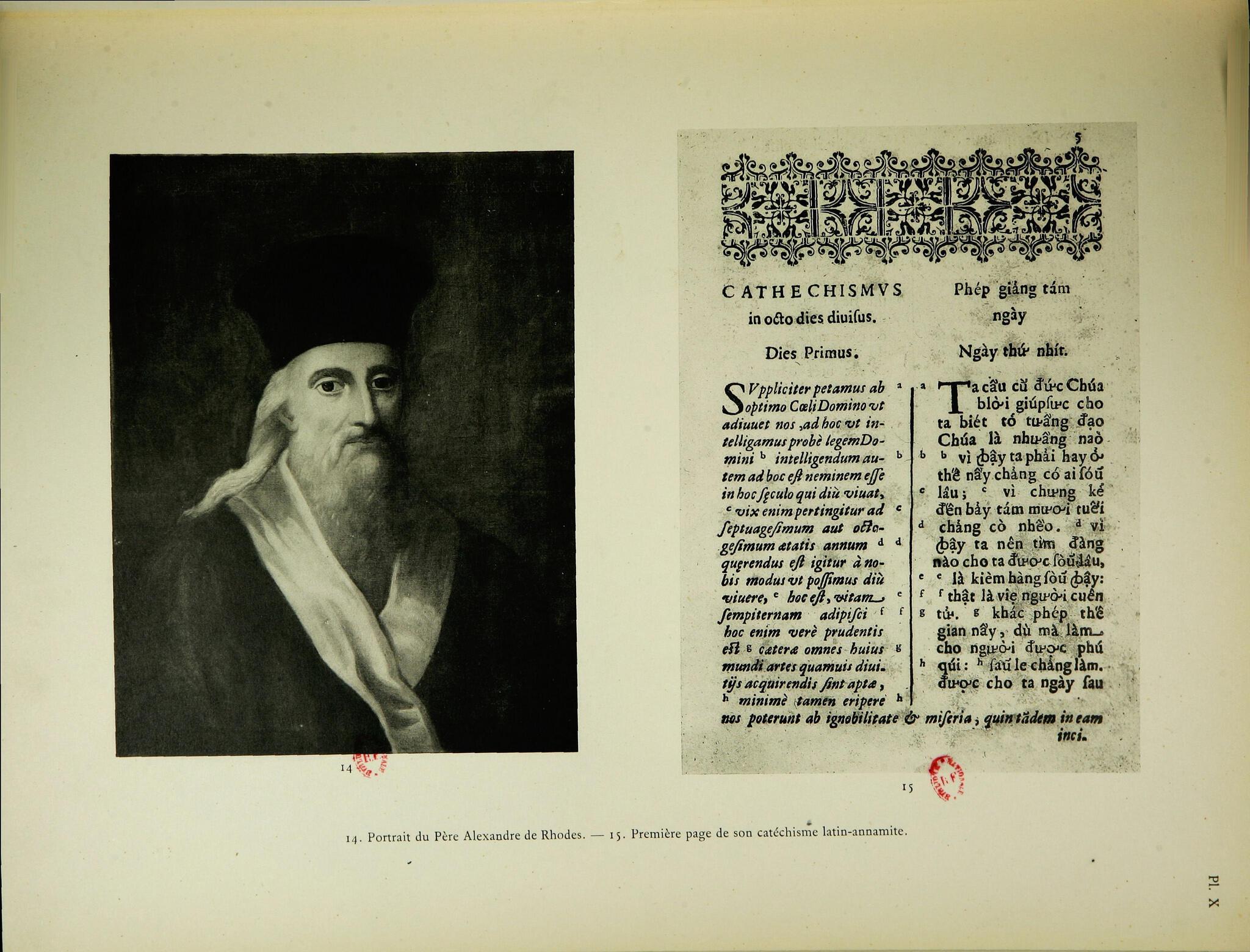 Chân dung linh mục Alexandre de Rhodes (cha Đắc-Lộ) và Phép giảng tám ngày, trích trong Tập tranh lịch sử về xứ Đông Dương thuộc Pháp, 1931.