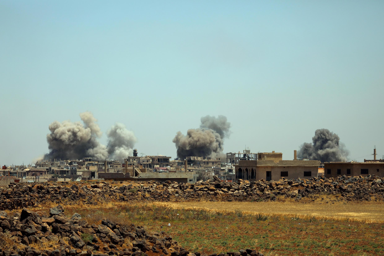دهکدهای در حومه درعا. دوشنبه ٤ تیر/ ٢۵ ژوئن  ٢٠۱٨