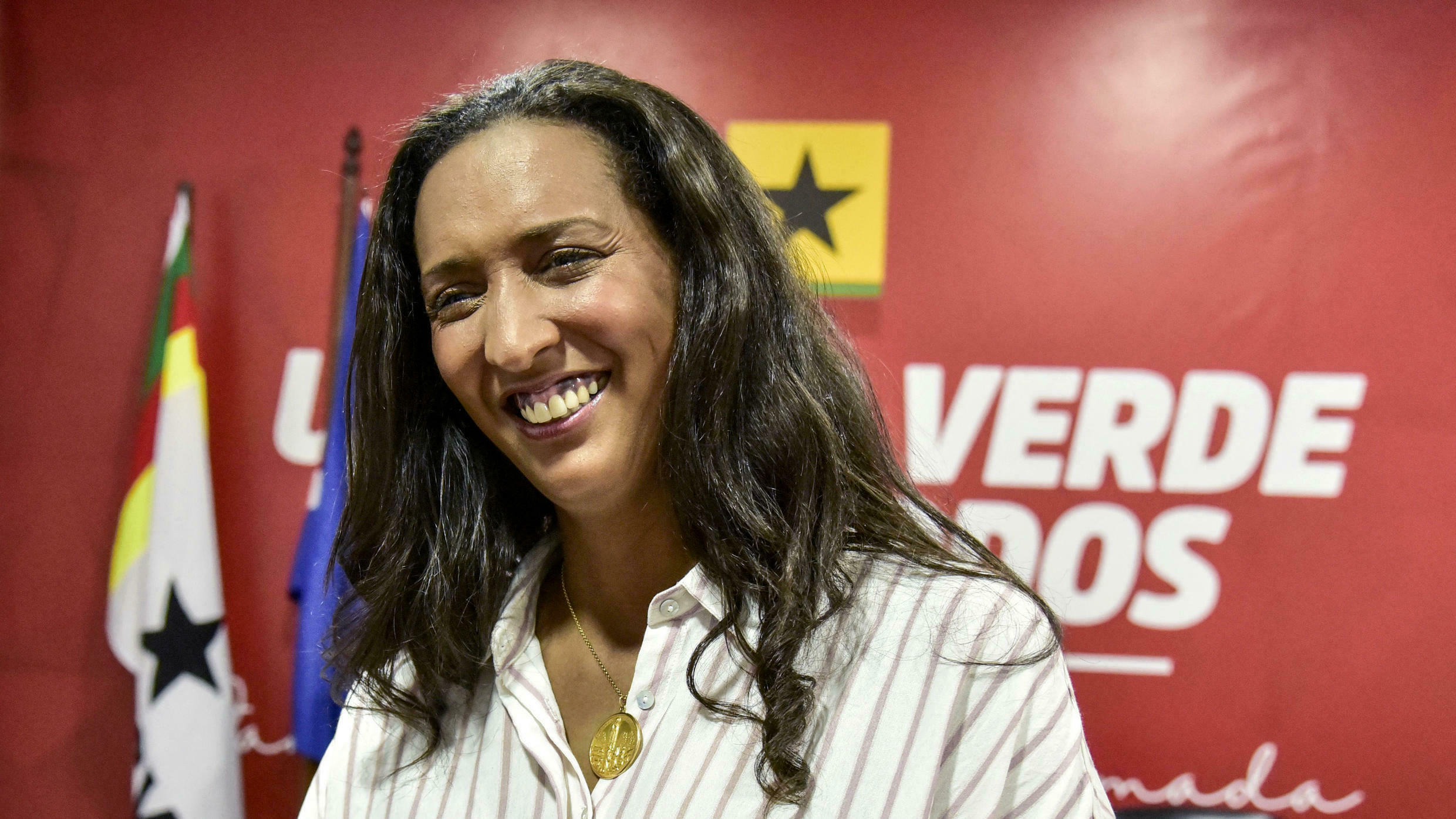 Janira Hopffer Almada, leader of the PAICV, smiles during an interview at her party's office in Praia on 16 April 2021.