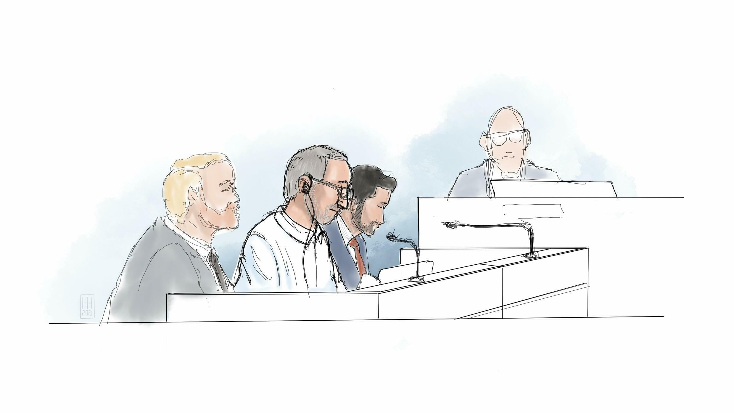 Courtroom sketch of Hamid Noury (2ndl) on Tuesday