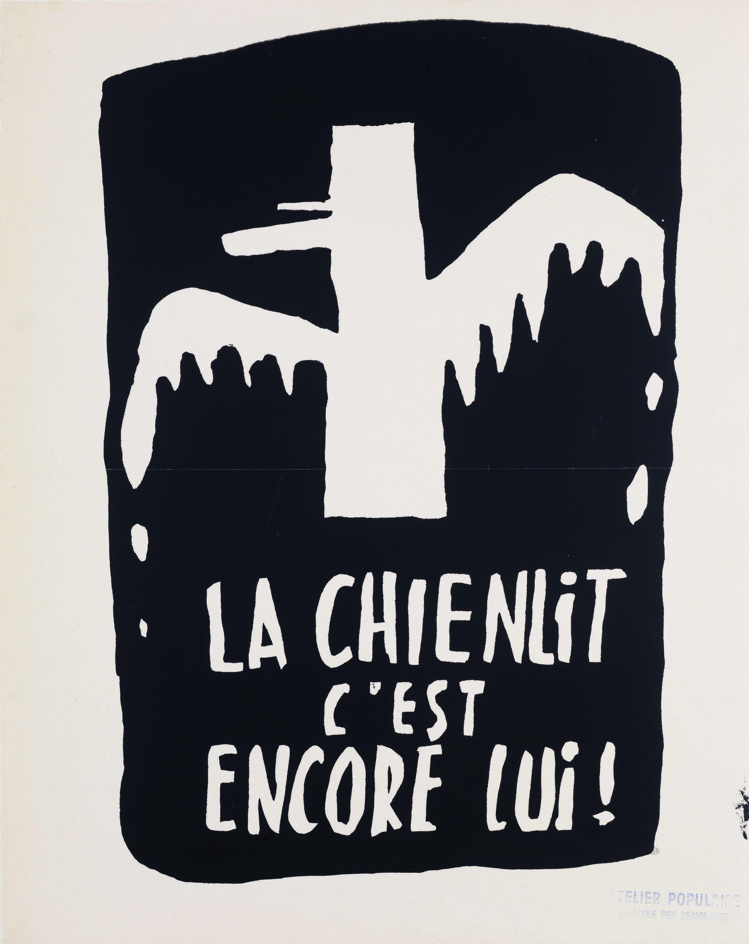 La chienlit c'est encore lui («Беспорядок — это он»), плакат с силуэтом Шарля ле Голля