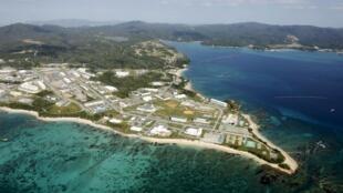 Căn cứ quân sự Mỹ tại dự tính chuyển về Henoko, nam Okinawa, Nhật Bản (Ảnh chụp 29/10/2015)