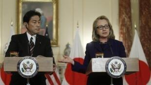 Ngoại trưởng Mỹ-Nhật tại Washington. Ảnh chụp ngày 18/01/2013