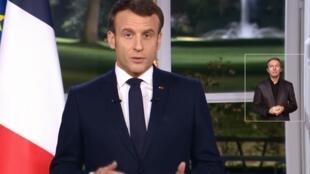French President Emmanuel Macron delivers televised New Year's Eve address 31 December 2019