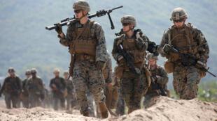 Quân đội Mỹ tham gia tập trận Cobra Gold 2018 (CG18) với Thái Lan tại một căn cứ quân sự ở tỉnh Chonburi, Thái Lan, ngày 16/02/2018. Ảnh minh họa.