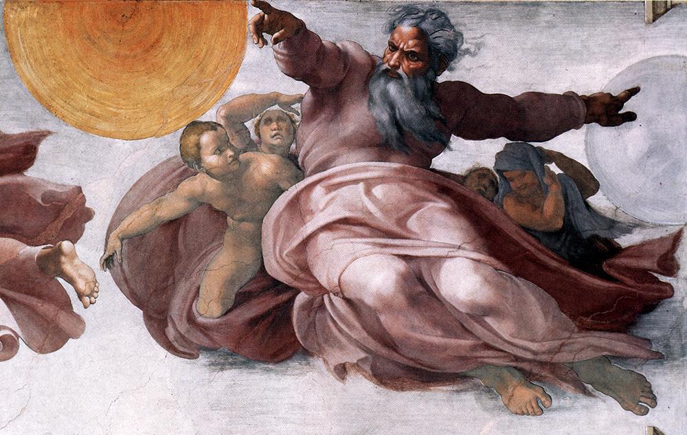 «Dieu crée la Terre, la Lune et le Soleil». Michel-Ange.