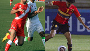 Le Tunisien Abdennour (g.) et l'Angolais Osorio (d.) lors du CHAN 2011.