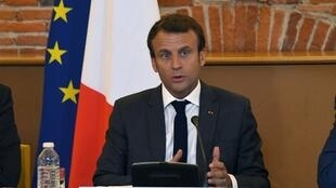 O  Presidente Emmanuel Macron em Toulouse.11 de Setembro de 2017