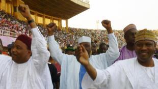 Mahamoud Issoufou da kuma Hama Hamadou lokacin yakin neman zaben shekara ta 2011.