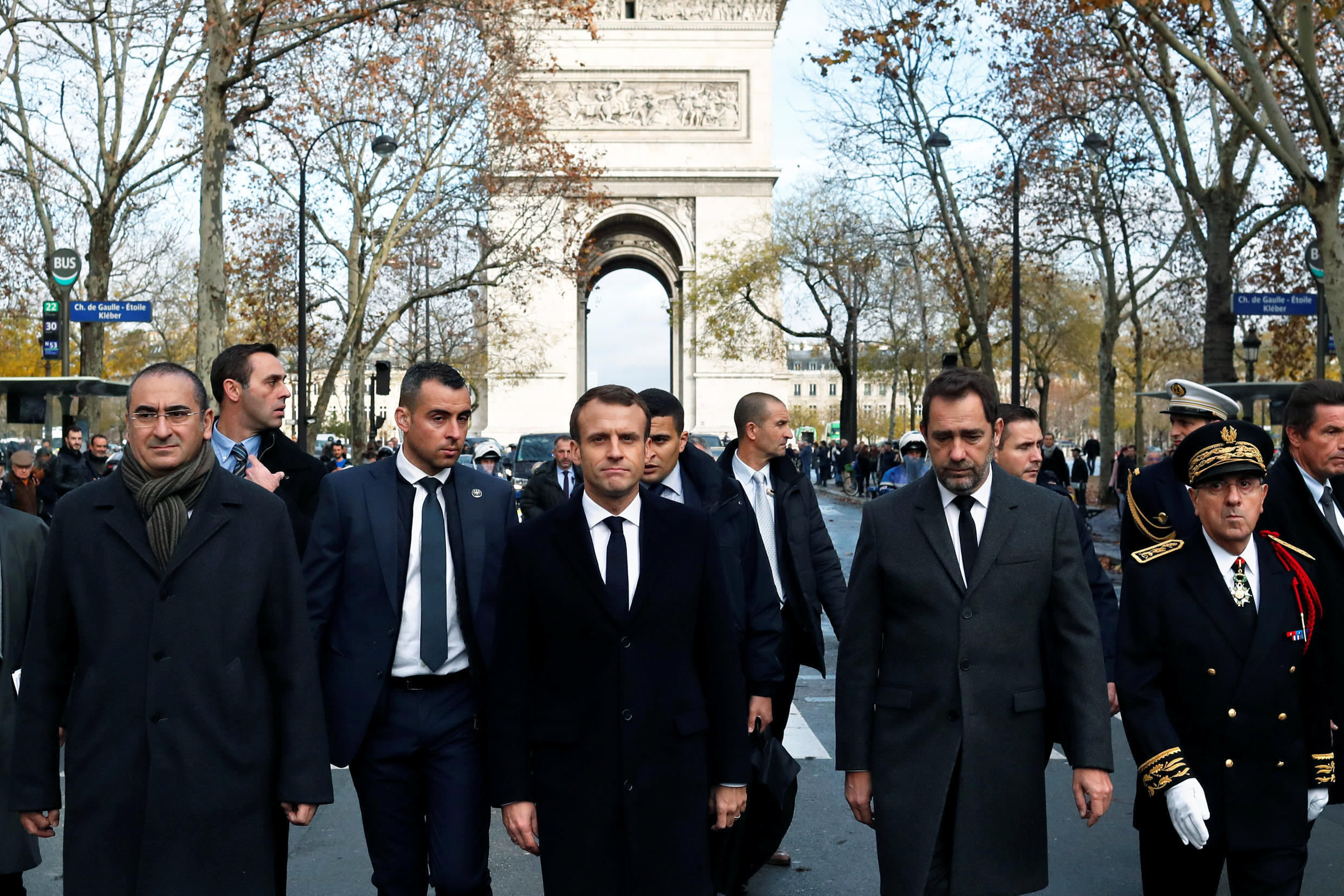 France's President Emmanuel Macron, France's Interior Minister Christophe Castaner, Secretary of State to the Interior Minister Laurent Nunez and Paris police prefect Michel Delpuech arrive to visit firefighters and riot police officers the day after a dem