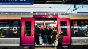 Commuters at Gare de L'Est train station in Paris on 13 December 2019