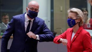 歐洲理事會主席米歇爾與歐盟委員會主席馮德萊恩資料圖片
