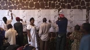 Confused voters look for their names on registration lists at a polling station in DRC's capital Kinshasa