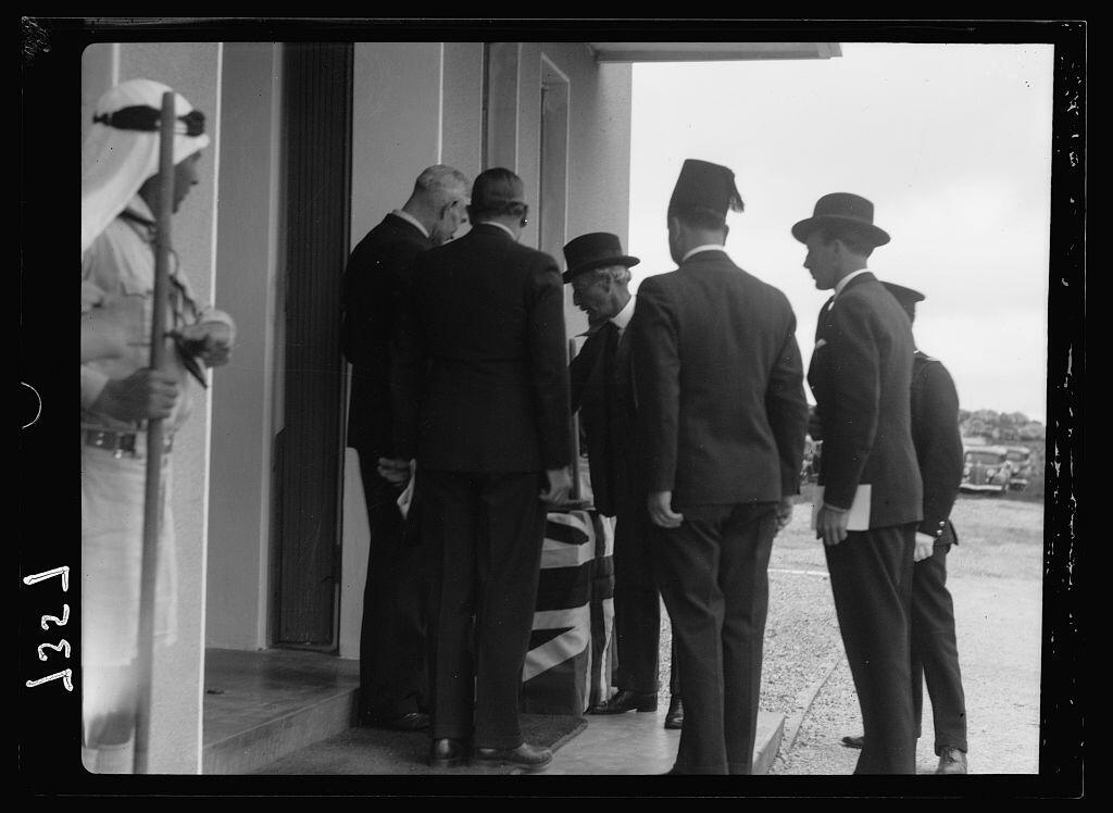 Sir Arthur turning on switch to the broadcasting towers in Ramallah, March 30th 1936
