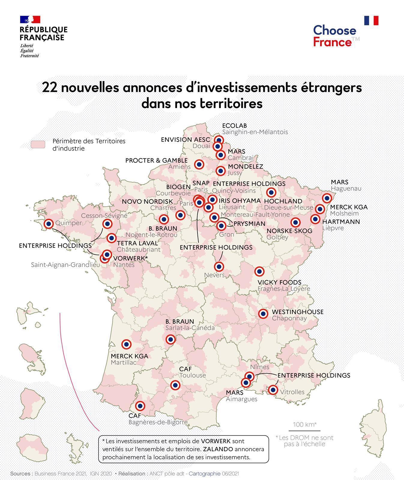 """第四届""""选择法国""""峰会的22项外国投资在法分布图"""