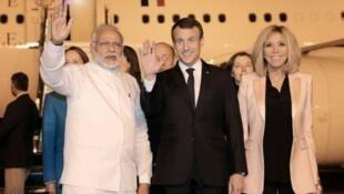 2018年3月9日法國總統馬克龍到訪印度新德里